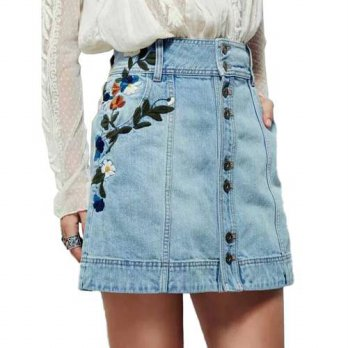 [globalbuy] 2016 New Summer Light Blue Denim A-Line Skirt Flowers Embroidery Women Vintage/4202554