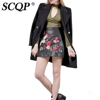 [globalbuy] SCQP Floral Embroidery Faux Leather Woman Skirt Black Zippers Bird Mini Skirts/4202571