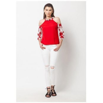 QLASSUALE - Cold Shoulder Floral Top Red