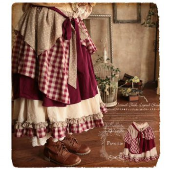 [globalbuy] Japan Lolita Style Ruffles-layer Long Maxi Princess Skirt Sweet Elastic Waist /4202392