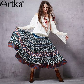 [globalbuy] Artka Womens 2015 Autumn New Vintage Shirred Printed Stitched Skirt Comfortabl/4202388