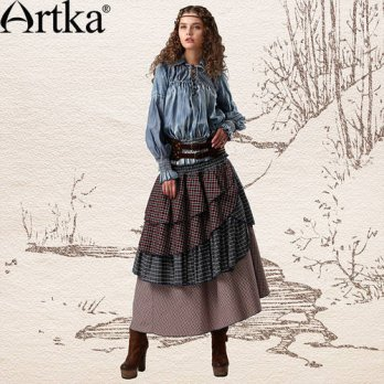 [globalbuy] Artka Womens Spring Vintage-inspired Retro Mixed Style Plaid Diagonal Multilay/4202365