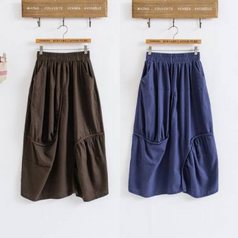 [globalbuy] New spring autumn women patchwork cotton linen irregular casual skirts Elastic/4202409