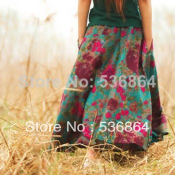 [globalbuy] Summer style fashion women high quality cotton and linen skirt Retro Bohemian /4202361