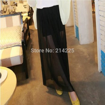 [globalbuy] Plus Size Hot Sale 2014 Women black Long Skirt gauze Net yarn lining skirts YW/4202330