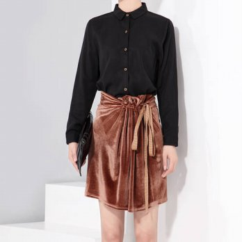 [globalbuy]  2016 Winter Velvet Skirts Lace Up Solid Short high Waist Women Skirt New Fash/4202323