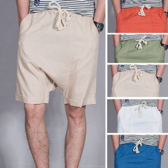[globalbuy] 2016 new summer men shorts Harem linen shorts cotton Breathable crotch male lo/4211323