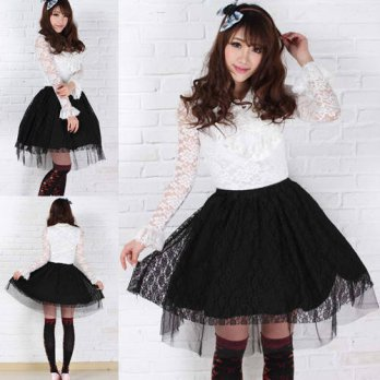 [globalbuy] 2015 Hot Sale Online Sweet Elegant Lolita Skirt with Lace Summer Women Tutu Bl/4202251