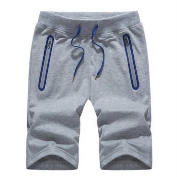 [globalbuy] New Arrival Gyms Shorts Knee Length Drawstring Elastic Loose Pocket Zipper Bas/4211308