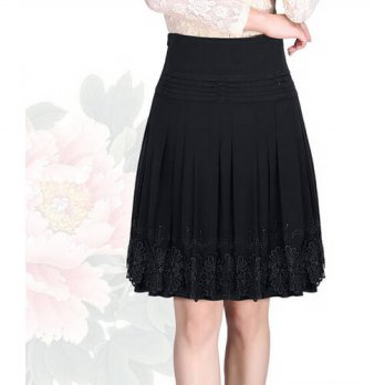 [globalbuy] 2015 Fashion Women Casual Skirts Plus Size Women Skirt Embroidery Slim Sumeer /4202232