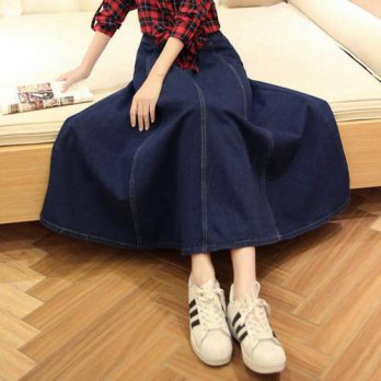 [globalbuy] 2016 New Fashion Autumn Denim All-match Loose Casual Jeans Skirt High Waist Lo/4202136