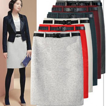 [globalbuy] New Arrival Fashion Large Size Autumn Winter Package hip Woolen Skirts OL Penc/4202110