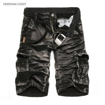 [globalbuy] Mens Summer Casual Shorts Quality Cotton Vintage Bleached Cargo Shorts Homme M/4211247