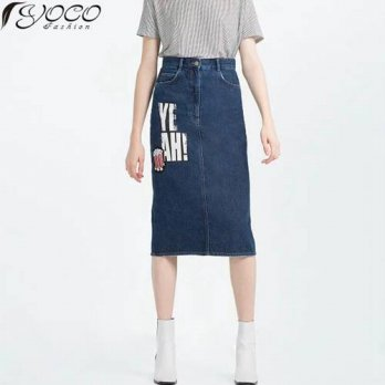 [globalbuy] 2016 New Embroidery Patch Designs Women Knee-Length Denim Skirts YC12272/4202043
