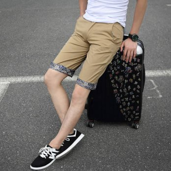 [globalbuy] 2015 New Arrival Spring Andu Summer 100 Cotton Shorts For Men Casual Knee Leng/4211334