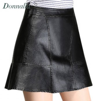 [globalbuy] M-4XL Women Skirts 2016 New Elegant Ladies Black PU Leather Skirts Autumn&Spri/4202289