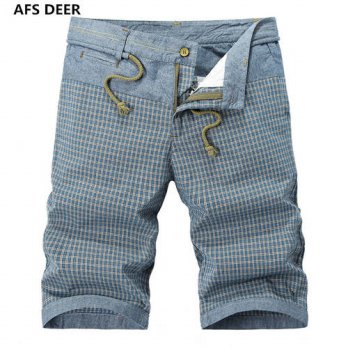 [globalbuy] 2016 Direct Selling Sashes Loose Gingham Mid Knee Length Summer New Mens Men C/4211331