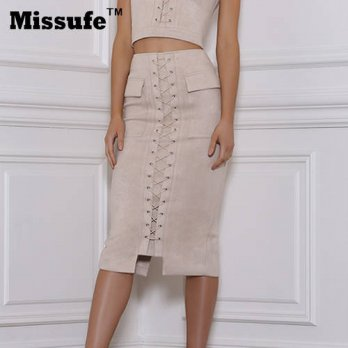 [globalbuy] Missufe High Waist Suede Leather Skirt Bodycon Bandage Lace Up Design Knee Len/4202286