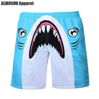 [globalbuy] ALMOSUN Blue Upset Shark Everything Will Be OK 3D All Over Print Shorts Animal/4211322