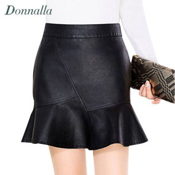 [globalbuy] Women Skirts Fashion Women Ruffled High Waist Zipper Faux PU Leather Black Tru/4202238