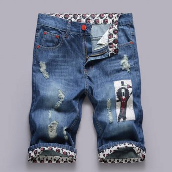 [globalbuy] 2016 new denim shorts homme summer high quality mens Cotton Stretch Jeans knee/4211305