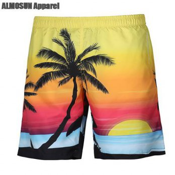 [globalbuy] ALMOSUN Sunset of Palm Tree 3D All Over Print Swum Shorts Casual Views Summer /4211297