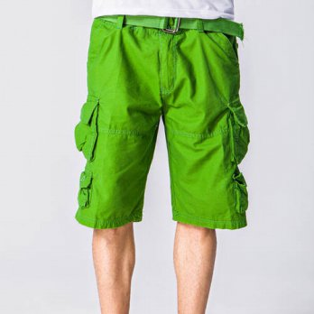 [globalbuy] Mens Multi-pocket Loose Shorts 100 Cotton Casual Beach Cargo Shorts Men 11 Col/4211284