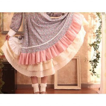 [globalbuy] Mori Girl Cawaii Lace Cotton Pleated Maxi Skirt Elastic Waist Loose Casual Got/4202182