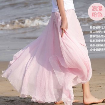 [globalbuy] Women Chiffon solid color Pleated Retro Elastic WaistBand Maxi Long Skirt Pink/4202165