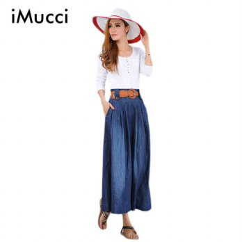 [globalbuy] Fashion New Loose Sweet Style Women Long Denim Skirts A-line Ankle-Length High/4202161