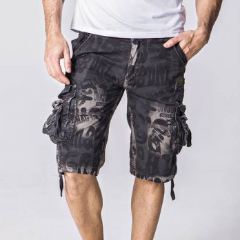 [globalbuy] Mens Casual Shorts Summer Letters Print Cargo Shorts Top Quality Cotton Loose /4211268