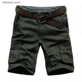 [globalbuy] Top Quality Mens Summer Shorts Solid Color Casual Multi-pocket Shorts Men Carg/4211257