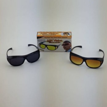 kacamata ASK vision sunglass 1 box 2 pc hitam dan kuning