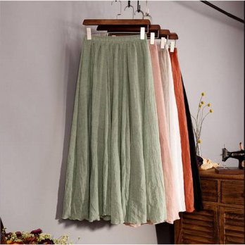 [globalbuy] 2016 Fashion Brand Women Top quality Linen Cotton Long Skirt Elastic Waist A-l/4202105