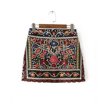 [globalbuy] Vintage Retro Floral Embroidered Bodycon Skirt High Waist Ethnic Pattern Penci/4202099