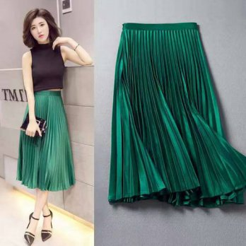 [globalbuy] fashion retro 2016 new winter pleated skirts and long sections pleated waist A/4202074