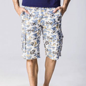 [globalbuy] Floral Print Mens Cargo Shorts Top Quality Cotton Summer Short Masculino Loose/4211203