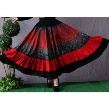 [globalbuy] 2015 New Arrival Autumn Gypsy Skirts Flamenco Style Hight Quality Big Pendulum/4201979