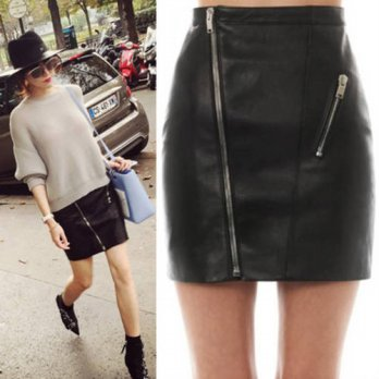 [globalbuy] Skirts Womens Natural sexy PU Faux Leather Short skirts high waist Casual char/4201896