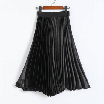 [globalbuy] 3 Colors Summer 2016 Women Pleated Skirt European Luster Casual Solid Color Sa/4201860