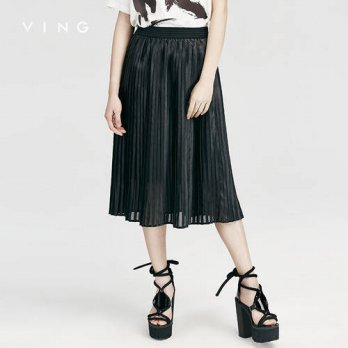 [globalbuy] VING Skirt Origional Designer 2016 Women Elastic Waist Pleated Skirt Women New/4201856
