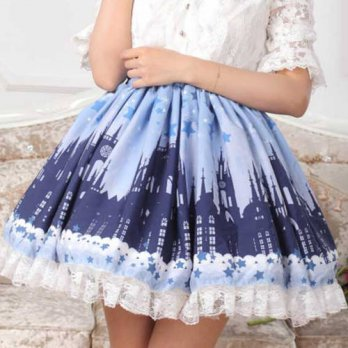 [globalbuy]  Cornflower Blue Skirt Castle printed Cute lace lolita skirt Princess SK Weddi/4201855