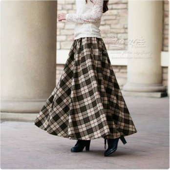 [globalbuy] New Vintage womens Winter Wool Maxi Skirt with Elastic waist big long hems Pla/4201973