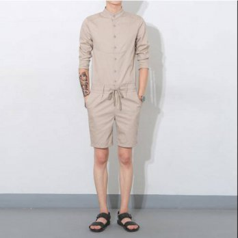 [globalbuy] 2016 Summer men jumpsuit casual three quarter sleeve fashion overalls one piec/4210560