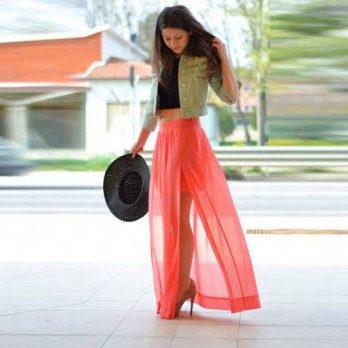 [globalbuy] Summer Style Fashion Coral Color Chiffon Long Skirts For Women High side Split/4201957