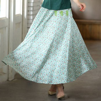 [globalbuy] New Fashion summer skirt cloud women big swing skirt Chinese ethnic Style line/4201881