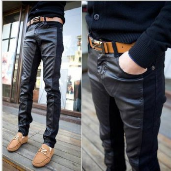 [globalbuy] Mens Leather Joggers 2015 New Leather Pants Mens Stitching High Quality Black /4210504