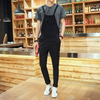 [globalbuy] 2016 New Arrival One Piece Long Jumpsuit Men Fashion Cotton Overalls Black Blu/4210495