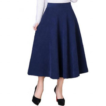 [globalbuy] Winter Elegant Long Skirt Thicken Plus Size Suede Skirt Women Factory Outlet M/4201796