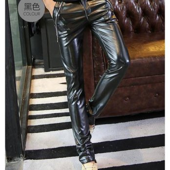 [globalbuy] Spring Autumn Casual Pencil Trousers personality Fake zipper Teenage Black har/4210472